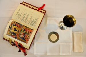 Missal on altar setting