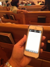 using Catholic missal app on cell phone in church