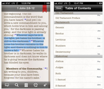 Screen shots from iMissal Bible showing highlighting and easy navigation menu.