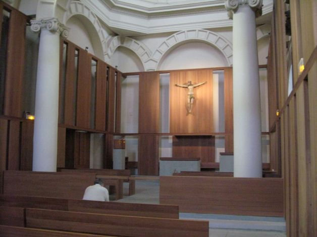 Inside the chapel in the Carmelite monastery of Lisieux France where St. Therese of Lisieux lived her vocation of love.
